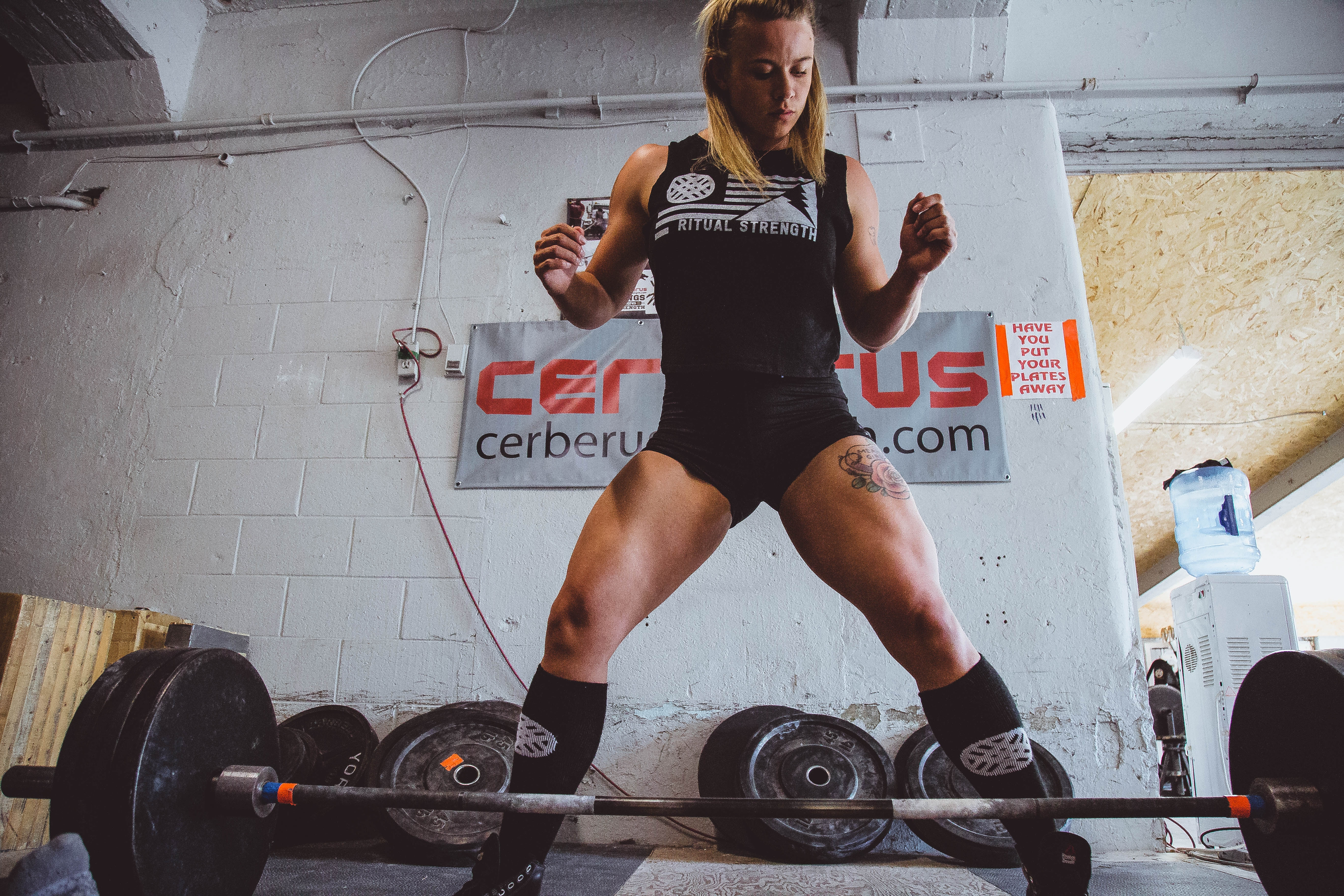 Woman Power-Lifting Weights In Gym, Bodybuilding